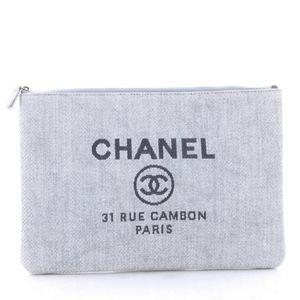 Chanel Deauville Light Blue Large Clutch